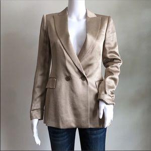 Reiss Aria Jacket 0 XS Taupe Metallic Silky Blazer